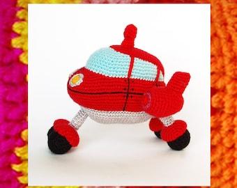 Crochet Pattern. Amigurumi Smart Rocket. Red machine. DIY amigurumi. Toys for boys. Amigurumis pattern. Plane crochet toy