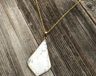 Howlite Pendant-- Marble Pendant-- Stone Necklace-- Statement Marble Necklace--