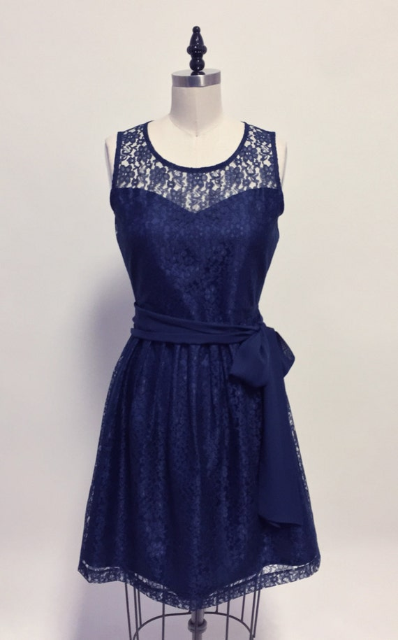 Provence navy navy blue lace dress sweetheart neckline provence navy navy blue lace dress sweetheart neckline vintage shirred skirt chiffon sash party day bridesmaid sciox Image collections