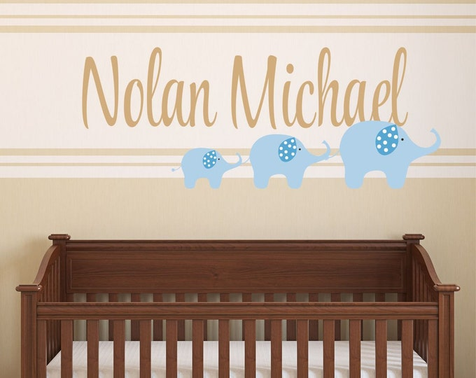 Animal Wall Decal, Elephant Vinyl Decal, Name Wall Decals, Elephant Nursery, Nursery Name Sign, Baby Boy, Baby Girl, Removable Wall Decal
