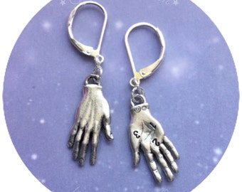 Palmistry Fortune Teller Palm reader hand earrings chiromancy, in silver or gold tone