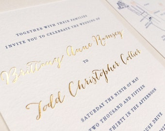 Gold Foil Calligraphy Wedding Invitation Navy Blush Elegant Nautical Laurel Wreath High End Luxurious Cotton Paper Wedding Invitations