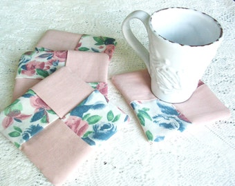 Fabric Coasters - Peach and Blue Floral Coaster Set - Mug Mats - Shabby Cottage Chic Drink Coasters -Country Decor - Wine Glass Coasters