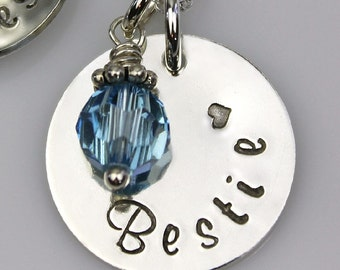 Sterling Silver BESTIE Necklace - hand stamped BFF necklace - Best Friend Necklace Gift