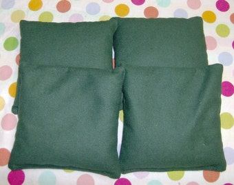 4 PC Set of Dark Green Cornhole Game Bags