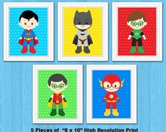 Superhero Wall Print, Superhero Wall Art, Superhero Nursery Decor, Superhero Digital Print