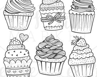 Hand Drawn Cupcake Clip Art, Cute Cupcake Clipart, Hand Drawn Cupcake Illustrations, Vector Cupcakes, Hand Drawn Cute Cupcake Clipart Set