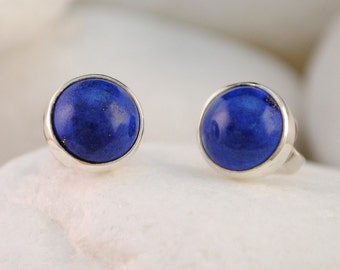 Blue Lapis Lazuli Sterling Silver Stud Earrings
