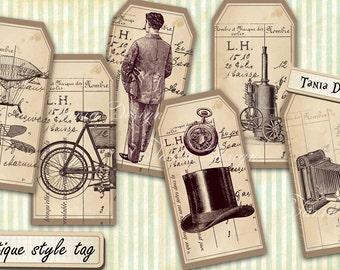 Antique Tags printable old vintage art craft hobby crafting scrapbooking instant download digital collage sheet