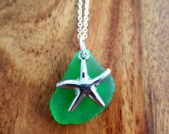 Green Sea Glass with Starfish Charm Necklace