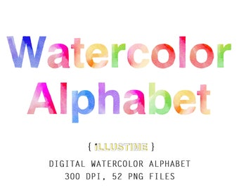Digital Alphabet, Watercolor Letters, abcs, ABC, Printable Alphabet, scrapbooking, stationery, card making, invitation, clipart, png file