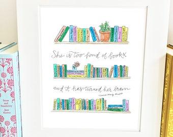 Bookshelf Print - Literary - handlettered - Louisa May Alcott Quote - QBLM