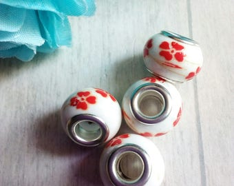 4 red flower patterned ceramic beads
