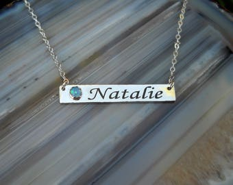 Personalized Name Necklace - Custom Name Necklace - Nameplate Necklace - Sterling Silver & 14K Solid Gold - Monogram Initial - Engraved Bar