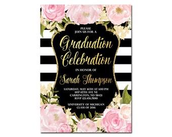 Floral Graduation Invitation, class of 2018, Graduation Open House Party, High School Graduation, College Graduation, Grad Announcement