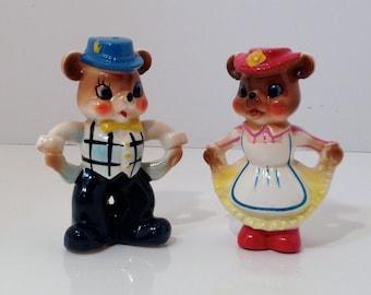 Two Vintage Cute Ceramic Dressed Bears Salt & Pepper Shakers