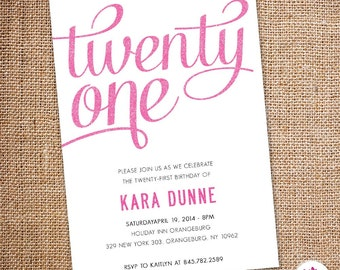 Twenty First - Birthday Invitation (Digital file)