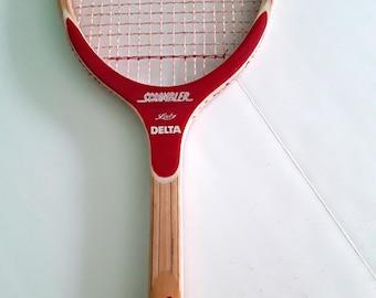 Scrambler Lady Delta vintage Wood Tennis Racquet 60s 70s Excellent