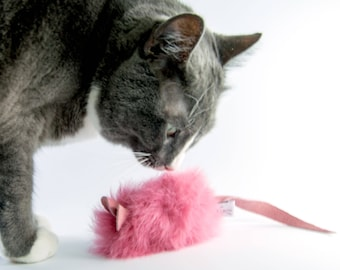Rabbit Fur Cat Toy Mouse, Pink Cat Toy Mouse, Real Rabbit Fur Cat Toys, Organic Catnip or Silvervine Mix Options