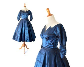 1950s dress, 50s dress, blue dress, vintage clothing, vintage dress, cocktail dress, vintage 1950s dress formal dress prom dress party dress