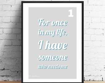 Stevie Wonder, Motown Inspired - For Once In My Life Lyrics Print. Home Decor. Housewarming/Birthday Gift.