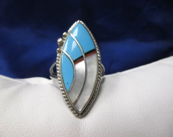 ONE Sterling Silver Mother of Pearl and Enamel Ring