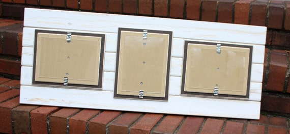 Picture Frame - Triple 5x7 - Distressed Wood - Double Mats - Holds 3 ...
