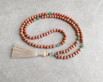 108 Mala Beads Necklace - Meditation Necklace in Rosewood and Green Aventurine - Item # 940