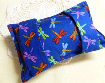 Seatbelt Pillow Softie Chemo Port Pad  - Dragonfly Royal Blue Print