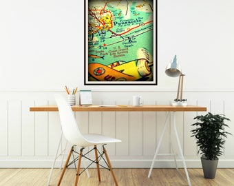 PENSACOLA map art, Florida Kids room map art, Pensacola map print, picture map wall art, vintage airplane art Kids room wall art aqua orange