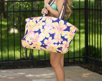 Monogrammed Beach Floral Ultimate Tote..Vibrant Beach Tote Bag..Personalized Vacation Tote