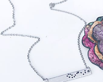 Constellation Necklace, Zodiac Bar Necklace, Personalized Zodiac Jewelry, Gemini Necklace, Bar Necklace, Hand Stamped Zodiac Signs, Silver