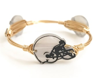 Customizable Football Helmet Wire Bangle, Bangle, Bracelet, Bourbon and Boweties Inspired