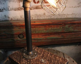 Handcrafted Industrial Wire Cage Lamp with Salvaged Wood Base