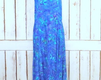 Vintage 90s blue batik water color floral print sleeveless maxi dress/Bali Batiks Resort Wear/boho festival dress/large