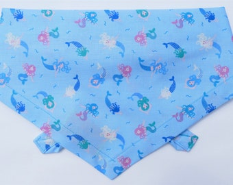 Mystical Mermaid Dog Bandana, Tie on style, Super-Premium cotton, Handmade in Yorkshire by Dudiedog. Free UK delivery. 7 sizes