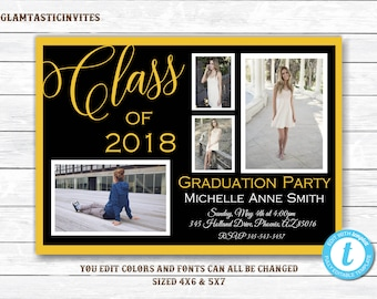 Graduation Invitation, Grad Invite, Graduation Template, Class of, You Edit,High School Graduation Invitation, College Graduation Invitation