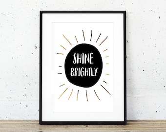 Shine brightly nursery print wall art poster, newborn baby gift instant download
