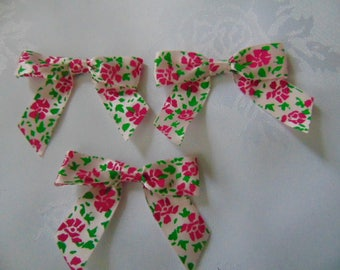 10 pink flowered ribbon bows 3 inch x 2.5 inch