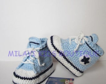Blue Sneakers Booties - Crochet Baby Sneakers - Newborn Converse Shoes - Infant Crochet Booties - Baby Boy Shoes - Baby shower gift