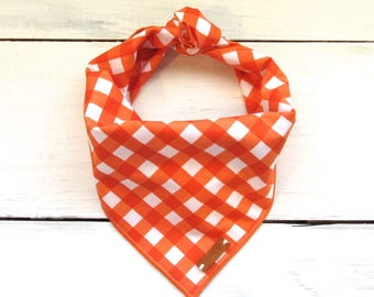 Orange Gingham Check Dog Bandana