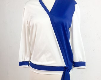 Vintage 1980s Royal Blue and White Wrap Top