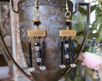 Black gold empire earrings