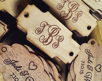 Custom Wood Tag:  Engraved Monogram in Custom Shapes, for your wedding, special event, or crafting!