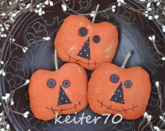 Primitive Halloween Pumpkin Jack o Lantern Bowl Fillers - Three