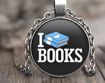 I Love Books Necklace, reading gift for book nerd necklace, nerdy jewelry, book pendant necklace, nerdy gift, book lover gift, geek jewelry