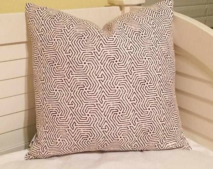 Quadrille China Seas Maze in Purple on Tint Designer Pillow Cover