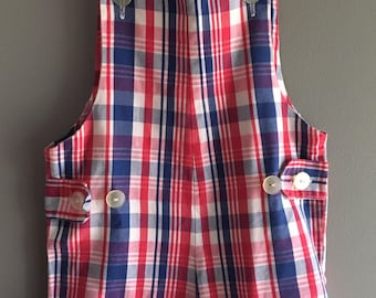 Vintage Red, White, and Blue Young Mate brand shortalls