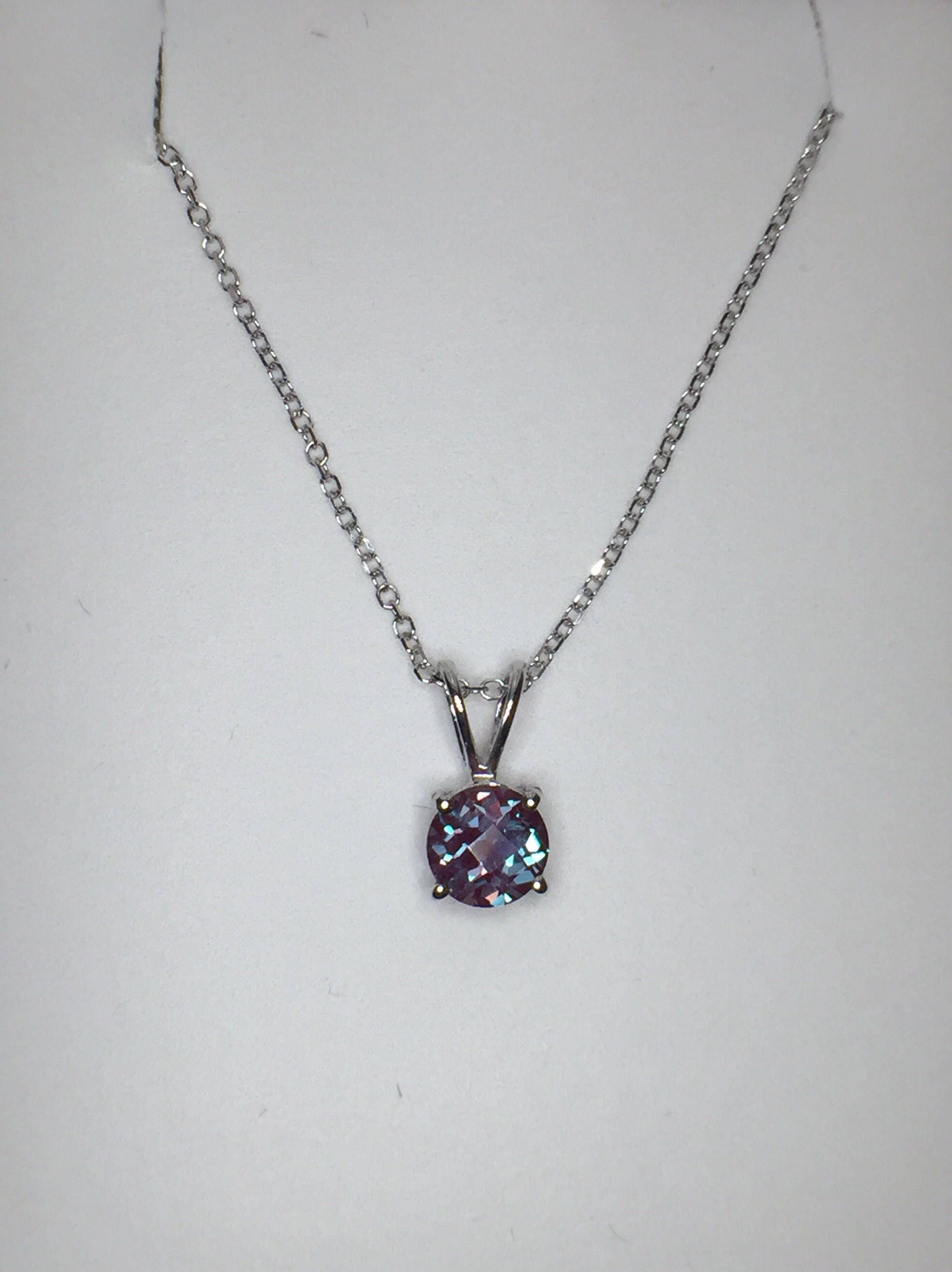 diamond in sterling accent pendant w products necklace purple created silver with alexandrite size