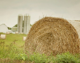 Hay Bale Photo, Rustic Farmhouse Photography, Country Farm Fixer Upper Style, Autumn Harvest Barn Picture, Warm Tones Home Decor Wall Art